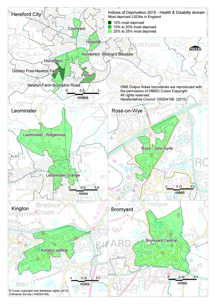 Maps showing the areas of Herefordshire that are amongst the most deprived in England according to the health and disability domain of the Indices of Deprivation 2015.