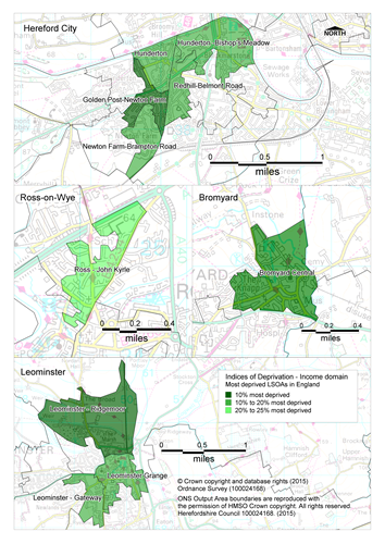 Maps showing the areas of Herefordshire that are amongst the most deprived nationally according to the income domain of the Indices of Deprivation 2015.