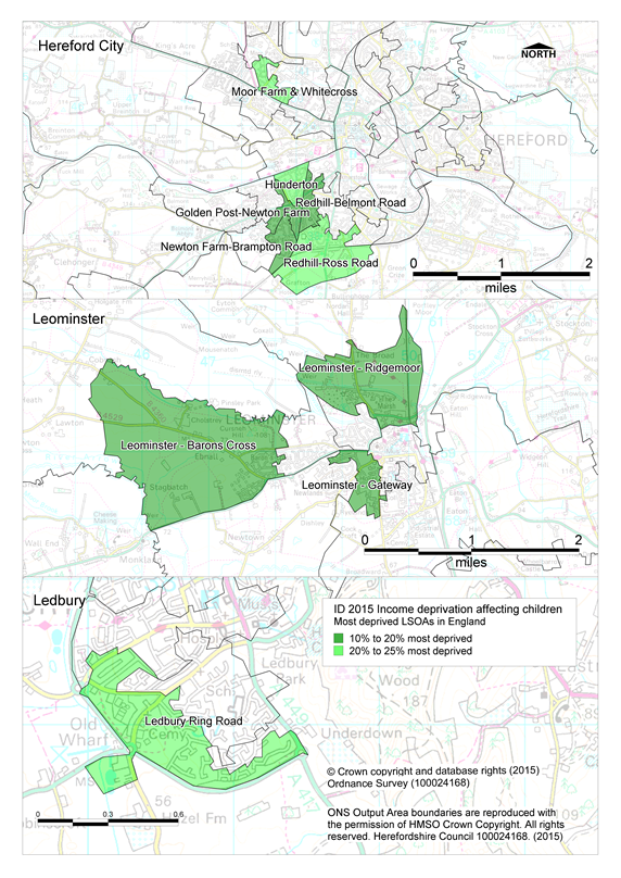 Map showing most deprived LSOAs in Herefordshire - Income deprivation affecting children sub-domain