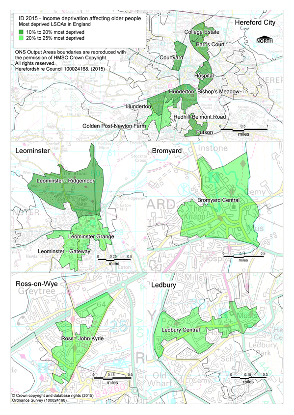 Map showing the most deprived Lsoas in Herefordshire - Income deprivation affecting older adults sub-domain.