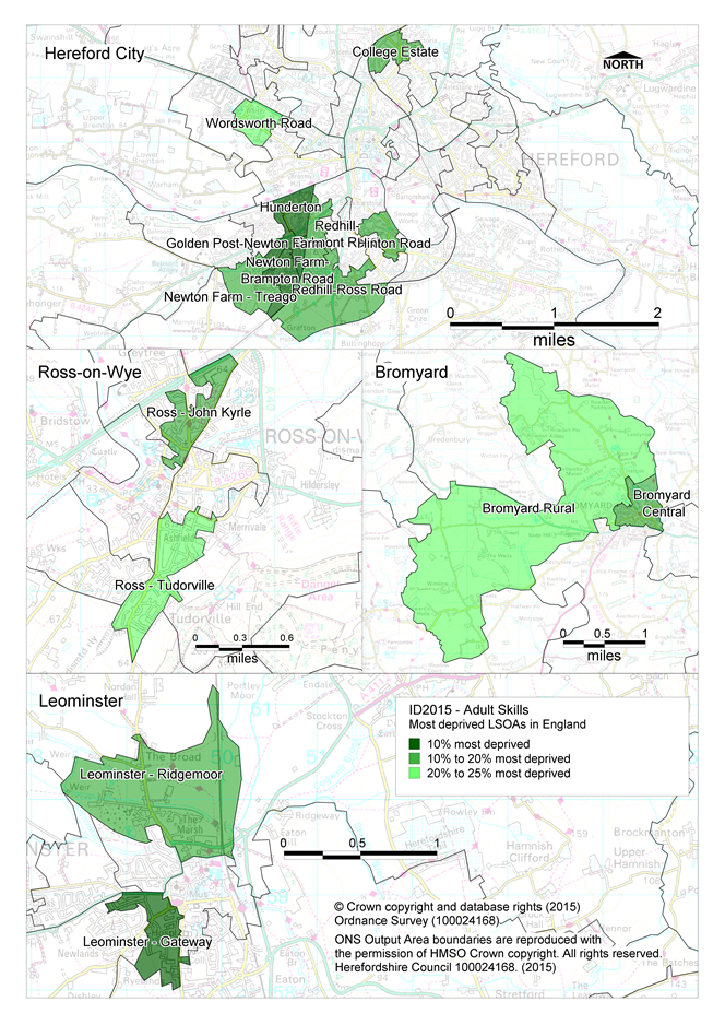 Maps showing the areas of Herefordshire that are amongst the most deprived in England according to the Adult Skills sub-domain of the IMD 2015.