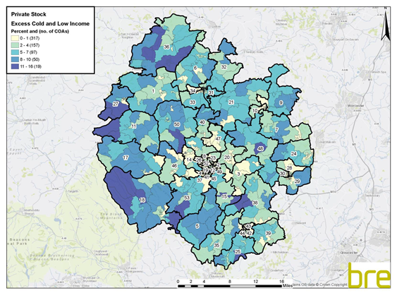 Thematic heat map showing the proportions of low income households and excess cold (private housing stock) across Herefordshire