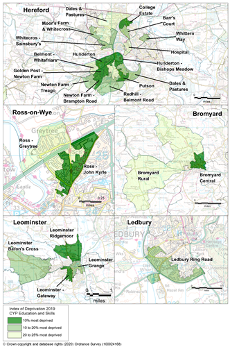 Maps showing the areas of Herefordshire that are amongst the most deprived in England according to the Children and Young People's Education and Skills sub-domain.