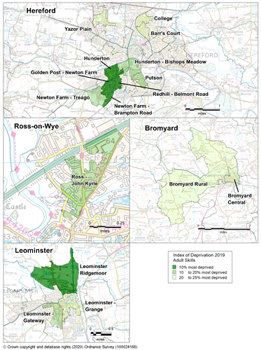 Maps showing the areas of Herefordshire that are amongst the most deprived in England according to the Adult Skills sub-domain of the IMD 2019.