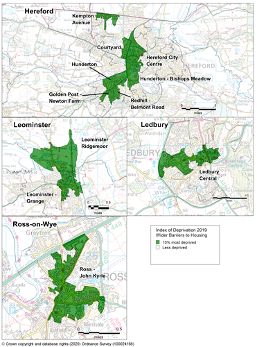 Maps showing the 10% most deprived areas of Herefordshire according to the Barriers to Housing sub-domain of the IMD 2019.