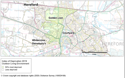 Map showing the areas of Herefordshire that are amongst the most deprived in England according to the outdoor living environment sub-domain of the IMD 2019.